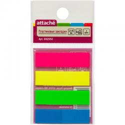Клейкие пластиковые закладки Attache, 4 цвета по 25 листов, 12х45 мм