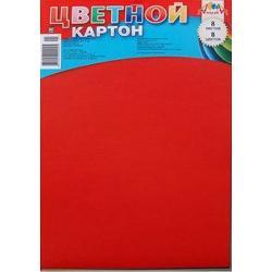Цветной картон, А4, 8 листов, 8 цветов