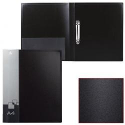 Папка на 2-х кольцах Бюрократ, А4, 0,7 мм, черная, до 150 листов