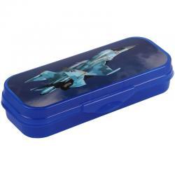 Пенал-футляр Самолет, 210x90x40 мм, пластик, синий
