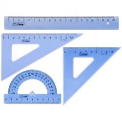 Набор средний 2 треугольника, 20 см линейка, транспортир