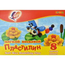 Пластилин мягкий Кроха, 8 цветов, со стеком