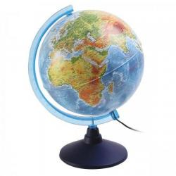 Глобус Земли физический + политический, с подсветкой, 250 мм